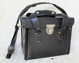 "Vtg Hard-Sided Antique Leather Camera Case w/ Zippers & Lock w/ Keys 10""... - $35.87"