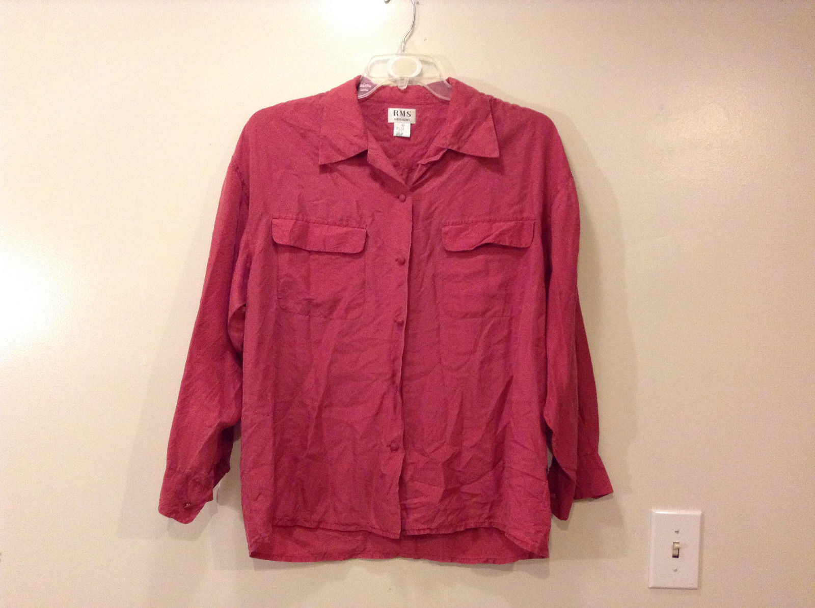 RMS Design Ladies Pink 100% silk Blouse Button Down Shirt, Size L