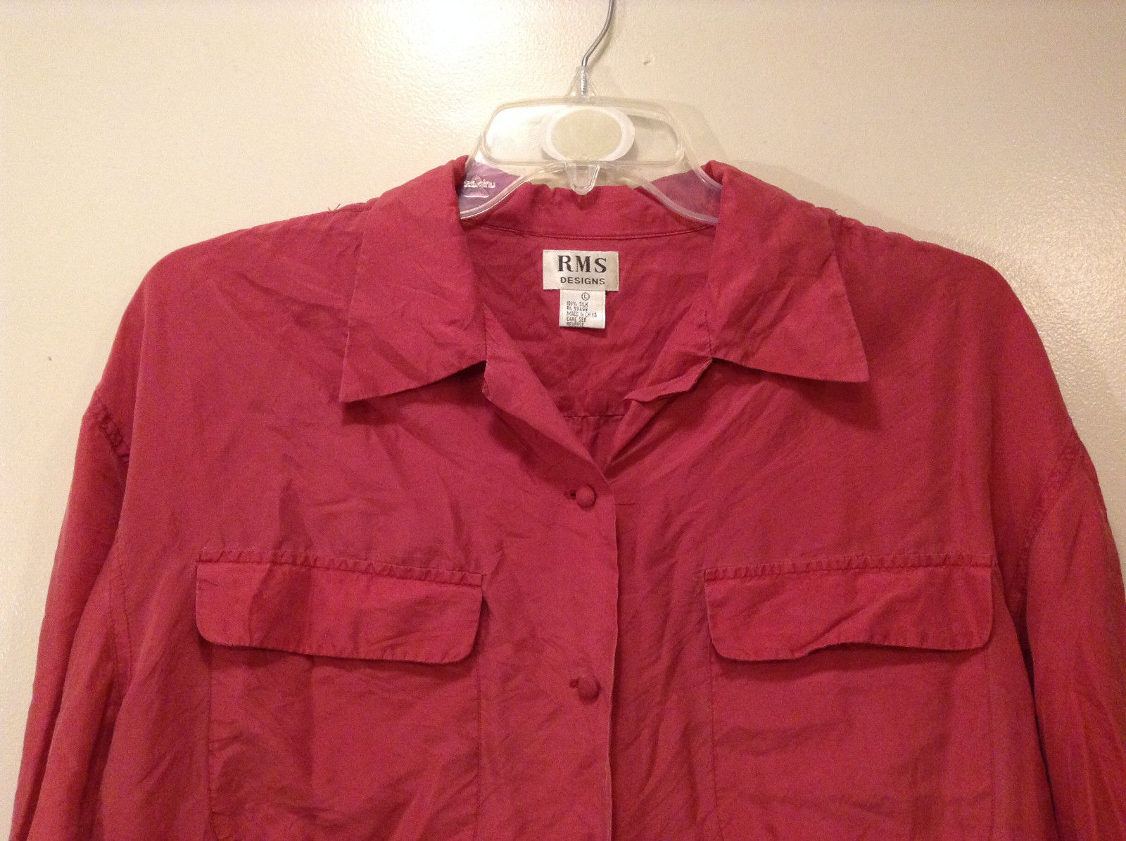 Rms design ladies pink 100 silk blouse button down shirt for Silk button down shirt
