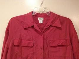 RMS Design Ladies Pink 100% silk Blouse Button Down Shirt, Size L image 2