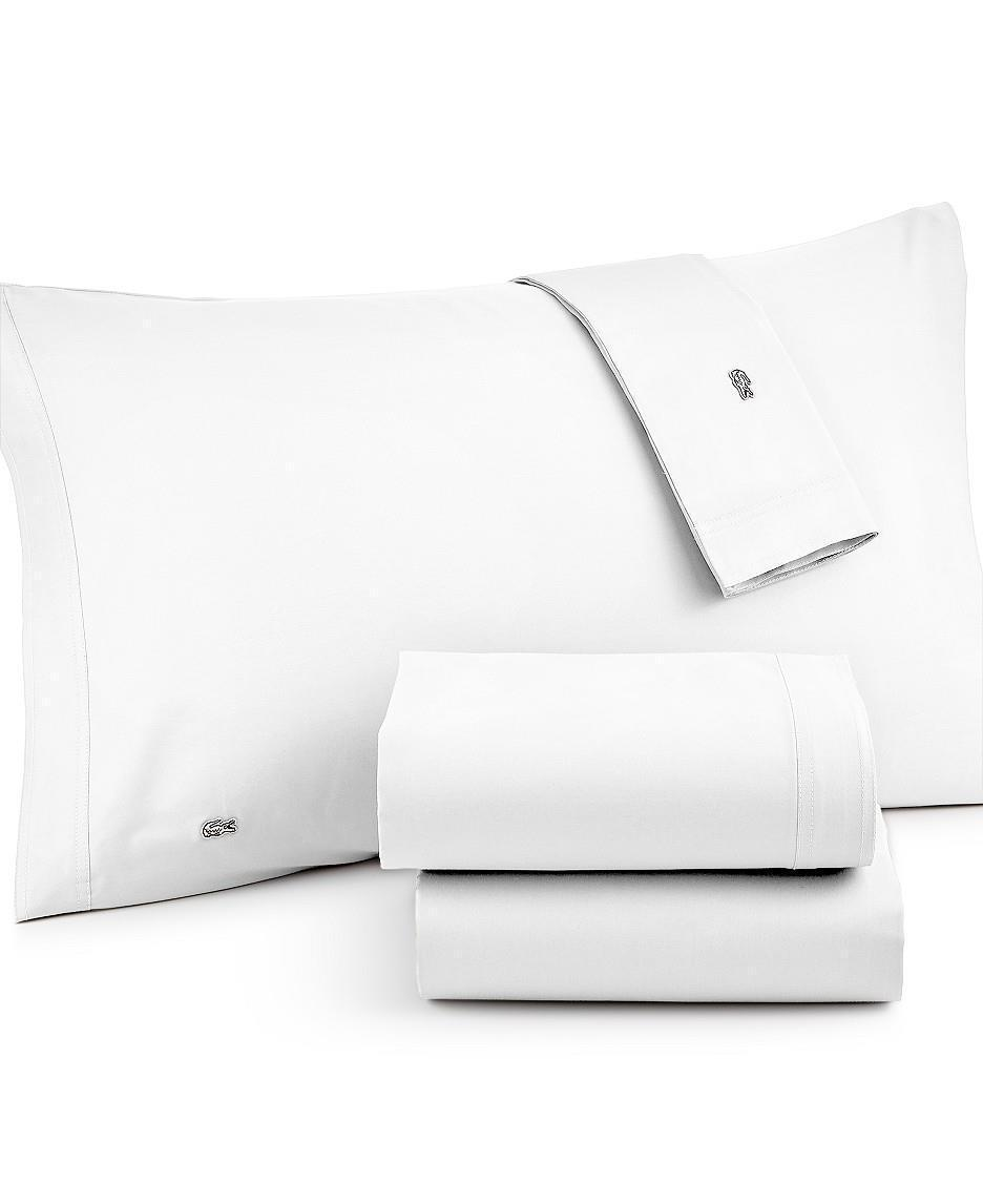 NEW LACOSTE TWIN SHEET SET BRUSHED TWILL WHITE WITH CROC CROCODILE LOGO PATCH