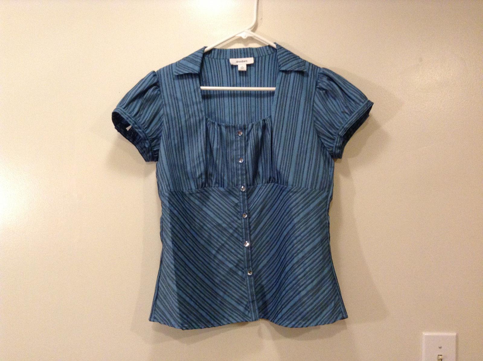 Dressbarn Ladies Blue Lt.Gray Striped Blouse Button Down Shirt, Size S