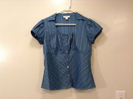 Dressbarn Ladies Blue Lt.Gray Striped Blouse Button Down Shirt, Size S