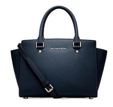 Michael Kors Women's Selma Medium Top Zip Satchel Satchel Handbag Navy - $195.00+