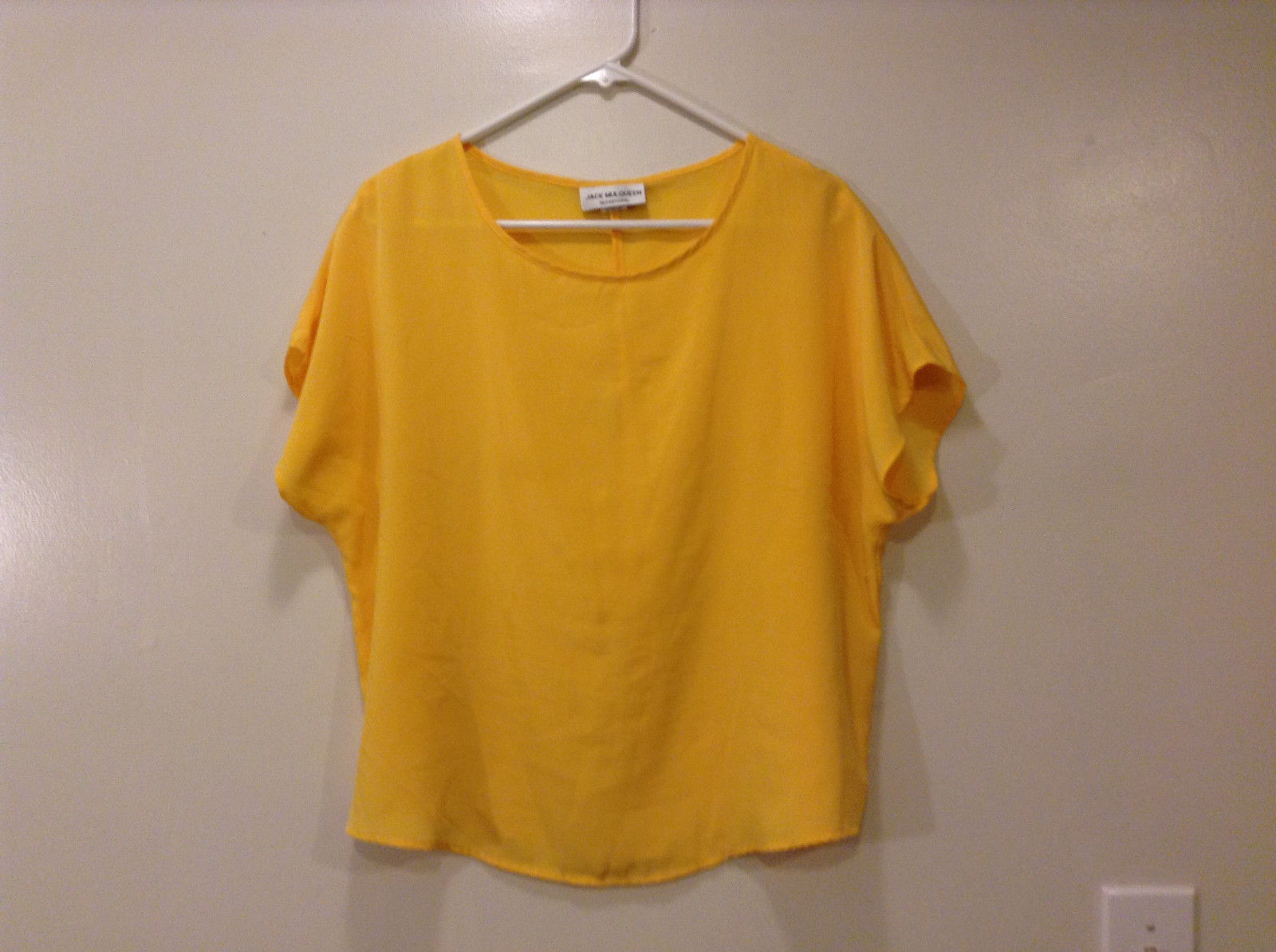 Jack Mulqueen Ladies Yellow Blouse Tee Shirt, Size L 100% polyester