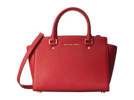 Michael Kors Women's Selma Medium Top Zip Satchel Satchel Handbag Red - $199.00 - $209.00
