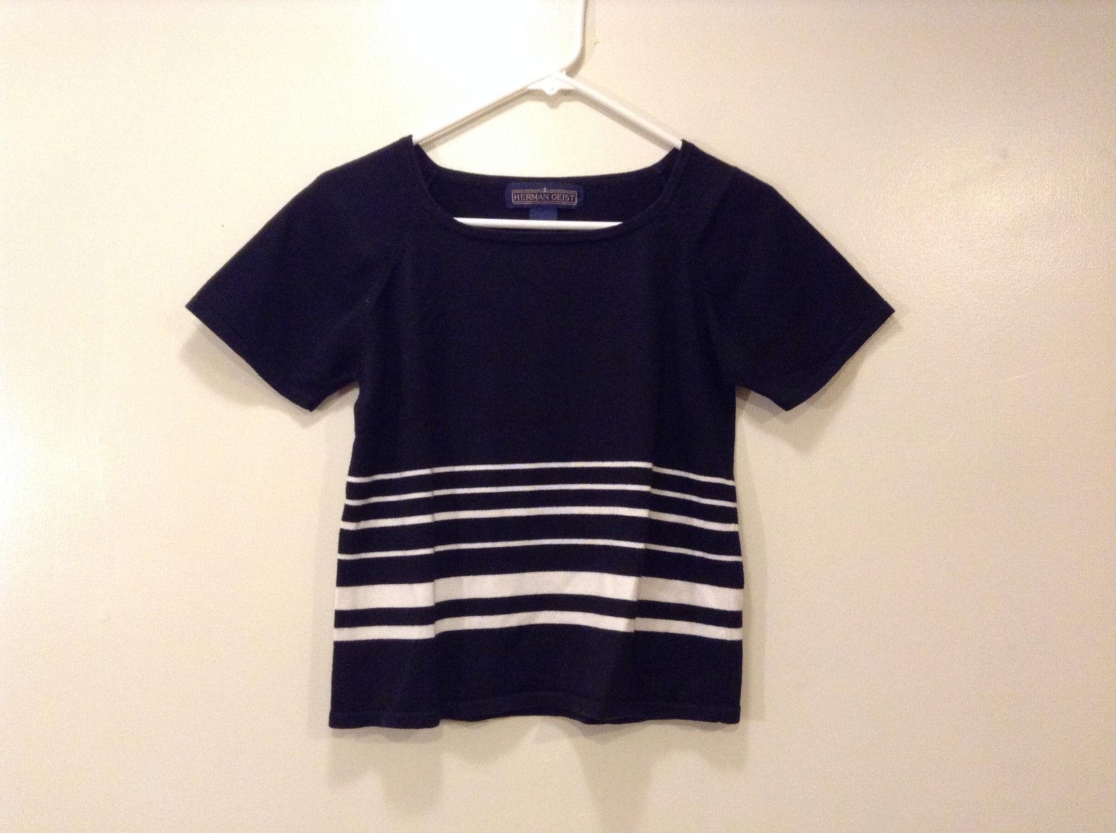 Herman Geist Ladies Striped Black White Blouse Top T-shirt, Size S Raglan sleeve