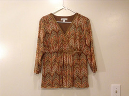 Cold Water Creek Ladies Abstract Pattern Brown Red Blouse, Size L, V-neck