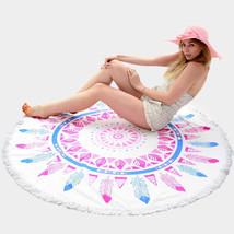 Round Beach Towel Fuchsia & Blue Feather Print Poncho with Tassel Trim 3... - $31.01 CAD