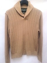 Eddie Bauer L Sweater Camel Beige Shawl Collar Pullover Ribbed Linen Cotton - $21.53