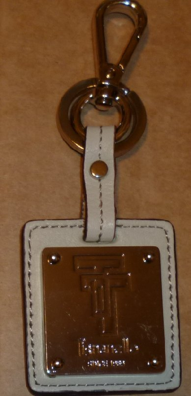 TIGNANELLO gray leather keyring key chain clip-on 3.25""