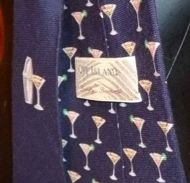TOMMY BAHAMA Off Island Neck TIE Necktie Martini cocktails drinks design