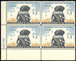 RW26, PLATE BLOCK OF FOUR XF-SUPERB OG NH Cat $600.00 - $350.00