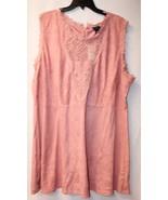 NEW WOMENS PLUS SIZE 3X DUSTY PINK FAUX SUEDE SOFT CROCHET TOP YOKE DRESS - $19.33
