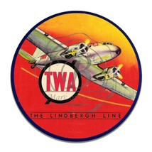 Vintage TWA The Lindbergh Line Airline Reproduction Round Aluminum Sign - $16.09