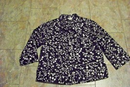 womens christopher banks black & white button front 3/4 sleeve jacket si... - $22.76