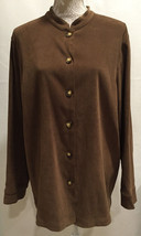 Orvis Women's Career Brown Long Sleeve Button Shirt Top Blouse Jacket Si... - $29.99