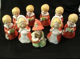 Vintage 1980 Set of 9 MWC Hand Painted Jingle-Belles Bisque Bells - $38.12