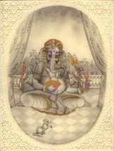 Ganesha Hindu Miniature Painting Handmade Indian Religious Lord Ganesh D... - $184.99