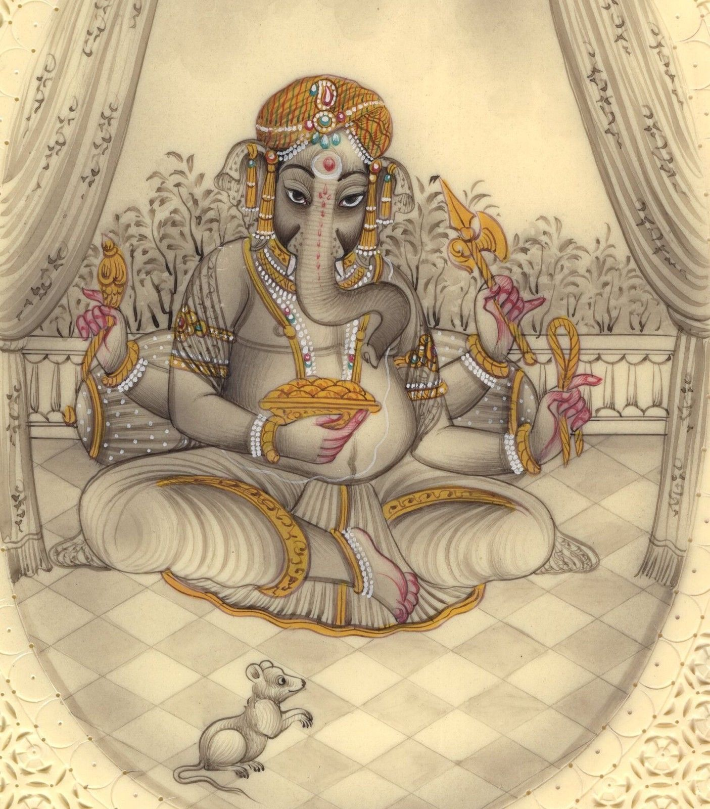 Ganesha Hindu Miniature Painting Handmade Indian Religious Lord Ganesh Decor Art