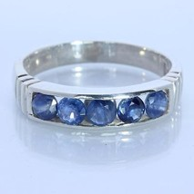 Blue Sapphire 3.8 mm Handmade Sterling Silver Unisex Channel set Ring size 11 - £70.68 GBP