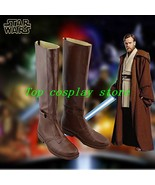 Star Wars Jedi Obi-Wan Kenobi Cosplay Shoes Brown Boots Custom Made pu l... - $65.00