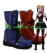 Arkham Knight Game Harley Quinn Cosplay Shoes Boots red blue shoe boot - $62.00