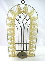 Antique Large Metal Wall Candle Sconce Chic White Painted Floral  Holder... - $48.50