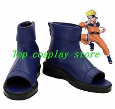 NARUTO Anime Uzumaki Naruto Ninja Cosplay Shoes Blue Boots Custom Made shoe boot - $62.00