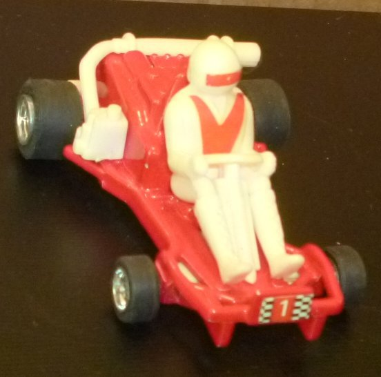 """Vintage #1 red RACE car with driver die-cast toy 3"""" long, made in Hong Kong"""