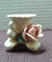 Vintage Cottage Chic Applied Rose Candle Holder  SHABBY CHIC Taper Candle Holder - $7.25