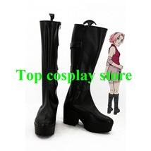 Naruto Haruno Sakura Cosplay Boots shoes black Ninja Version A #NAR002 - $65.00