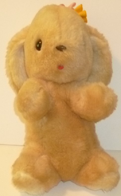"Vintage 1976 GUND Plush BUNNY Rabbit LUV ME 12"" with flower & rattle"