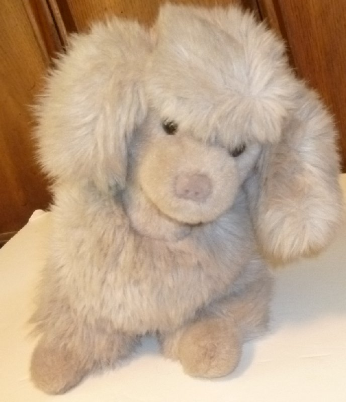 "Vintage 1988 GUND Plush gray French POODLE dog 14"" long with plastic hang tag"
