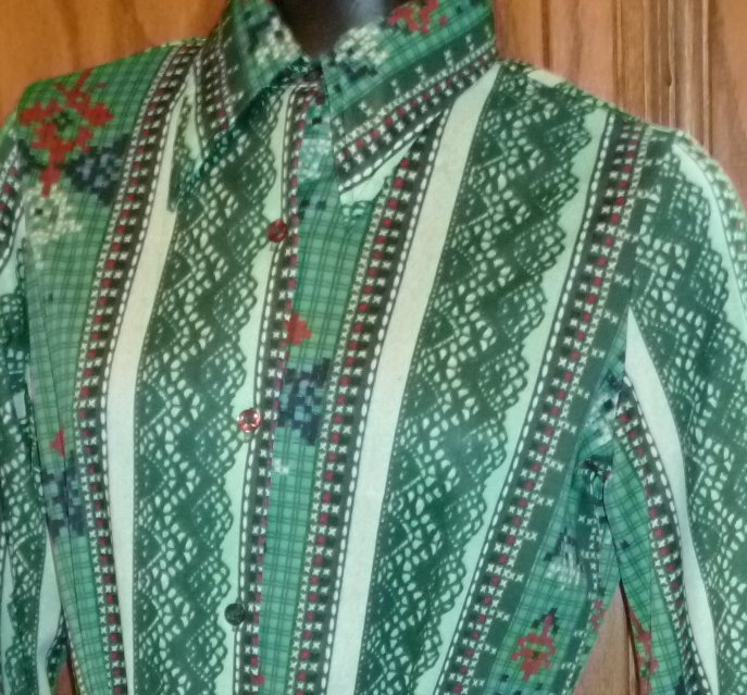 Vintage 70s TRISSI Disco print Shirt Blouse with sash belt