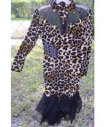 Vintage 80s Glam leopard print bandage dress with mesh cutouts some beads - $156.99