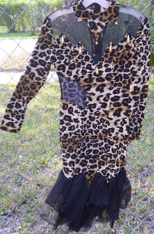 Vintage 80s Glam leopard print bandage dress with mesh cutouts some beads