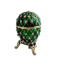 "1.5"" Egg Shape Green Trinket Box Pewter and Ena... - $29.00"