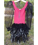 Vintage 80s Glam red black dress tiered skirt with dangling rhinestones ... - $53.57