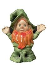 Vintage Lefton Leprechaun Elf Shamrock Orange Beard - $8.90