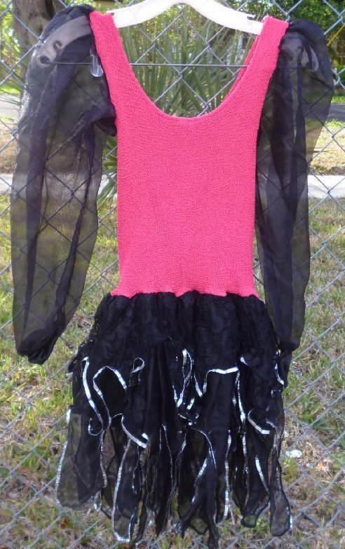 Vintage 80s Glam red black dress tiered skirt with dangling rhinestones one size