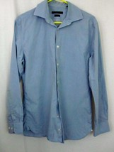 John Varvatos Shirt 15 32/33 Blue dot Pattern Button Slim Fit Down Long ... - $34.64