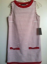 ZARA red and white STRIPED shift DRESS mod '60s Zooey D-esque RARE NEW N... - $149.99