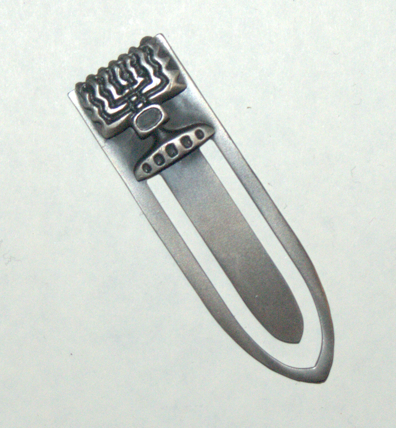 Judaica Bookmark Menorah Israel Pewter Plated Amulet Charm