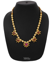 Womens Trendz Five Pandal Jav Mani Haar 24K Gold Plated Alloy Necklace - $39.00