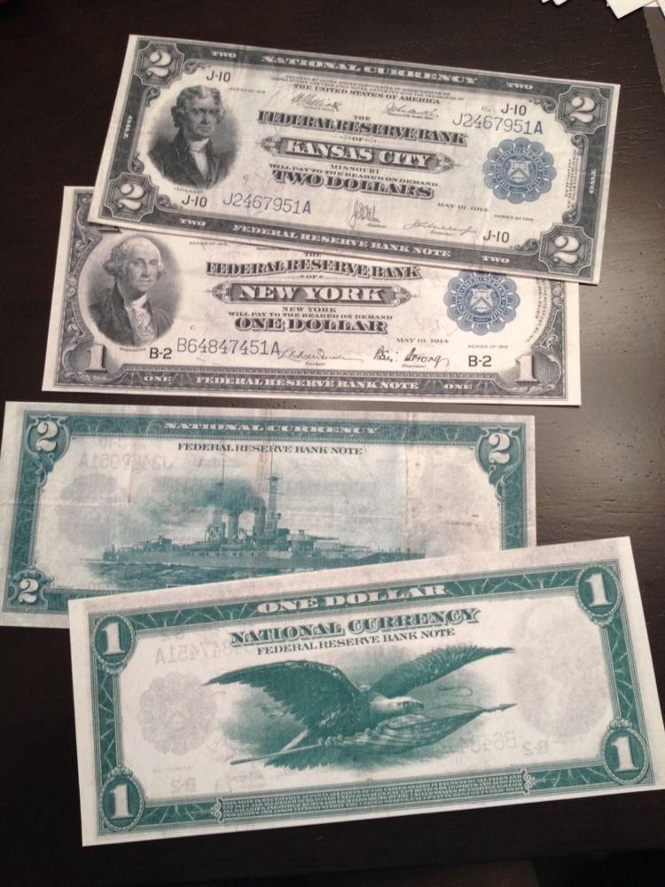 Reproduction Pair 1918 $2 Bill Battleship $1 Flying Eagle Federal Reserve Bank - $5.83