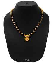 Womens Trendz Black and Golden Mani 24K Gold Plated Alloy Necklace - $32.00