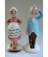 VTG JAPAN ENESCO You & Yours HUMOR COUPLE SALT & PEPPER SHAKERS SET - $24.75