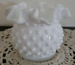 "Vintage ~  White Milk Glass ~ Hobnail Vase ~ Double Crimped 3.75"" Rounde... - $25.34"