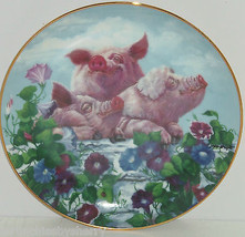 Pigs in Bloom Hogs Hamming it Up Collector Plate Danbury Mint Pig Retired - $59.95
